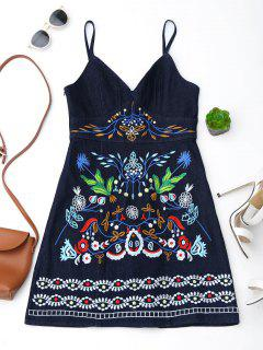 Spaghetti Strap Floral Embroidered Denim Dress - Deep Blue