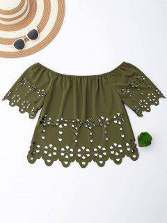 Off Shoulder Laser Cut Top - Grey Olive M