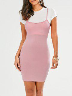 Faux Straps Color Block Bodycon Dress - Rose PÂle L