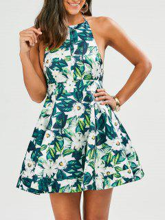 Tropical Print Backless Fit And Flare Dress - Green M