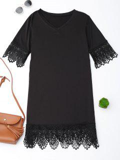 V Neck Lace Hem T-Shirt Dress - Black M