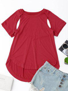 Cut Out High Low T-Shirt - Red L