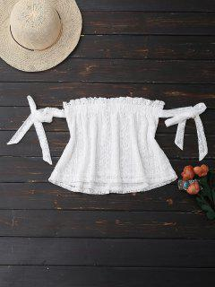 Off Shoulder Lace Tie Sleeve Crop Top - White S