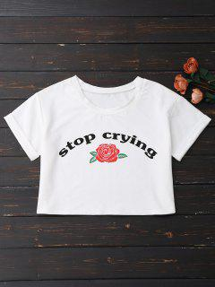 Stop Crying Rose Crop Tee - White Xl