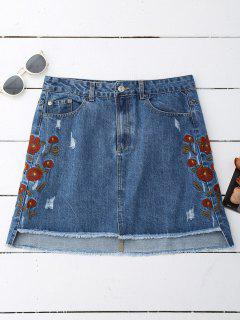 Floral Embroidered Frayed Hem Denim Skirt - Denim Blue L