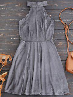 Faux Suede Lace Up Choker Skater Dress - Gray M