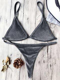 Cami Velvet String Thong Bikini Set - Gray M