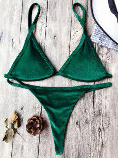 Cami Velvet String Thong Bikini Set - Deep Green M