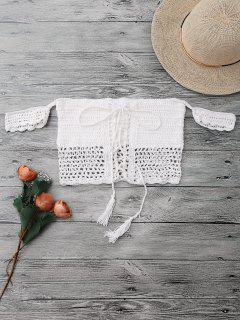 Knitted Off The Shoulder Bikini Bra - White
