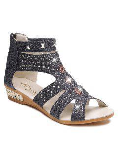 Rhinestones Zipper Rivets Sandals - Black 37