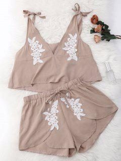 Drawstring Lace Applique Loungewear Suit - Nude S