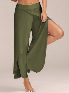 High Slit Flowy Layered Palazzo Pants - Army Green L