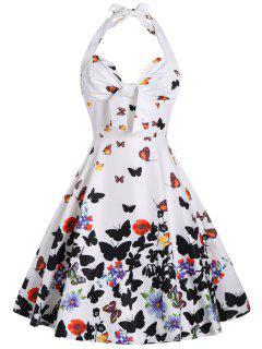 Neckholder Druck A Linie Kleid Mit Schmetterlings - Weiß Xl