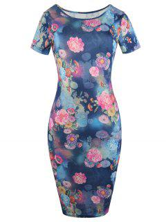 Short Sleeve Floral Midi Dress - Blue S