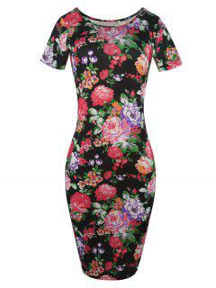 Flower Print Short Sleeve Dress - Black M
