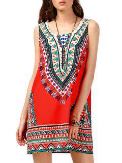 Robe Sans Manches Tunique Tribale Imprimée - Rouge S