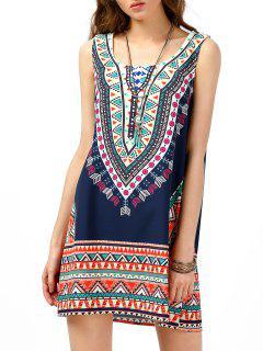 Tribal Print Tunic Sleeveless Dress - Purplish Blue Xl