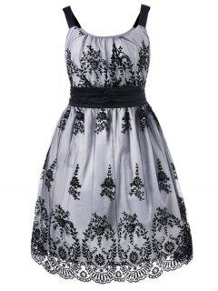 Plus Size High Waist Ball Gown Dress - White And Black 5xl