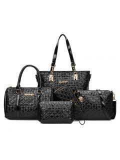 Rhombic Embossed 5 Pieces Handbag Set - Black