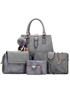 Scarf Pompon Suede 5 Pieces Handbag Set - Gray