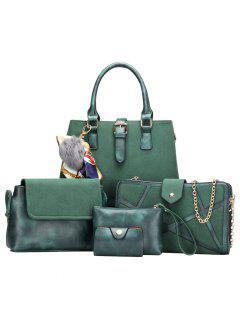 Scarf Pompon Suede 5 Pieces Handbag Set - Green