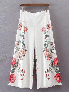 Floral High Waisted Wide Leg Pants - White M