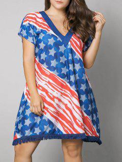 Tassel American Flag Print Plus Size Dress - Us Flag 6xl
