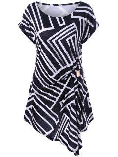 Plus Size Geometric Pattern Asymmetric Dressy Top - White And Black 4xl