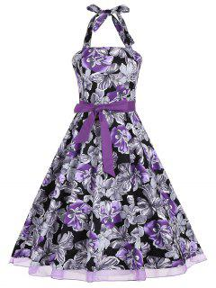 Retro Style Halter Floral Print Belted Dress - Purple 2xl