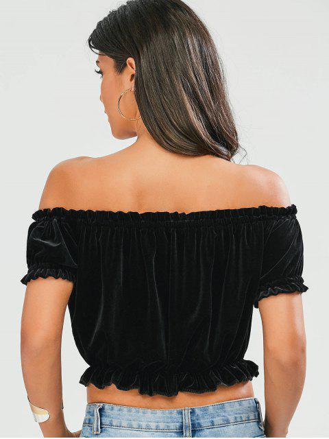 womens Ruffles Off The Shoulder Velvet Top - BLACK S Mobile
