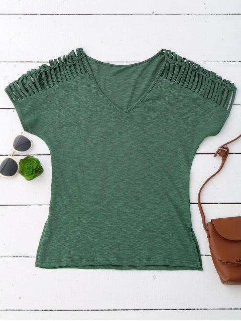 trendy V Neck T-Shirt With Ladder Details - ARMY GREEN S Mobile
