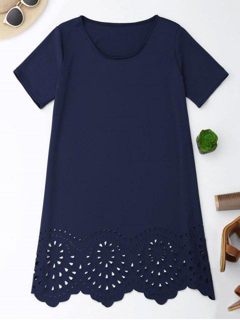 women Laser Cut Tunic Shift Tee Dress - CADETBLUE XL Mobile