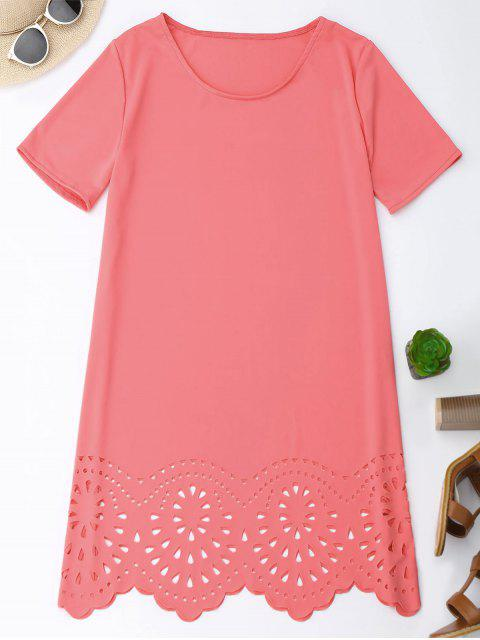 best Laser Cut Tunic Shift Tee Dress - PINK S Mobile