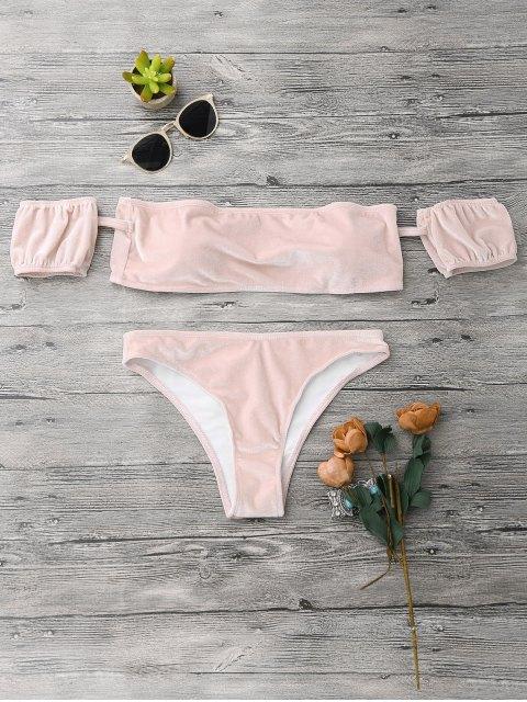 online Velvet Off The Shoulder Bikini Swimwear - PINK S Mobile