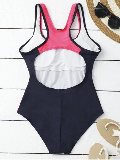 lady Contrasting Tummy Control One Piece Swimsuit - PURPLISH BLUE S Mobile