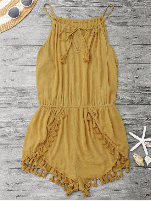 ladies String Fringed Romper - YELLOW L Mobile