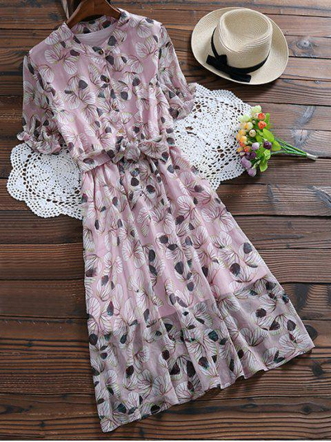 women Buttoned Print Holiday Dress With Belt - JUBILEE XL Mobile
