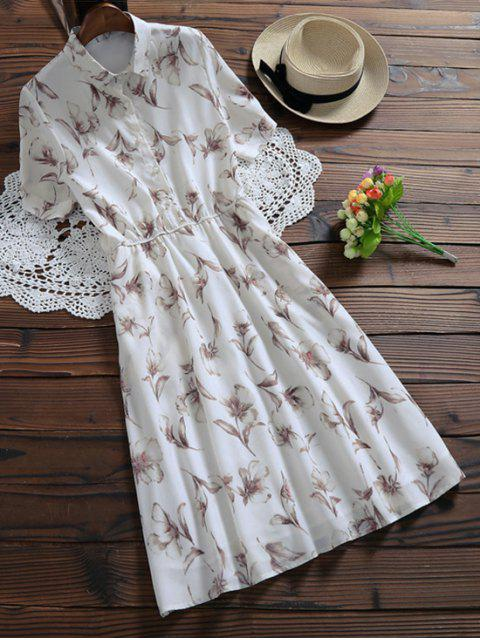 ladies Half Buttoned Floral Shirt Dress - WHITE M Mobile