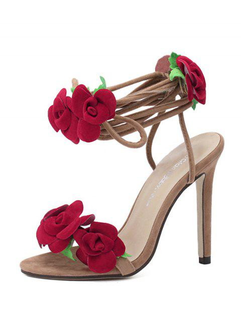 best Rose Lace-Up Stiletto Heel Sandals - APRICOT 39 Mobile