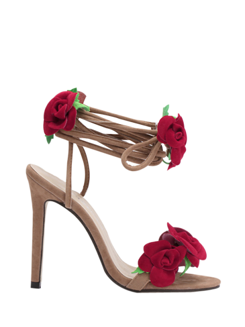 Rose Lace-Up Stiletto Sandales à talons - Abricot 37 Mobile