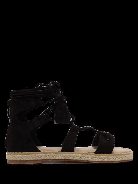 Sandales brunes avec espadrilles de lacets - Noir 39 Mobile