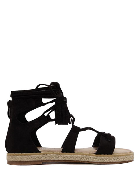 outfit Tassels Lace Up Espadrilles Sandals - BLACK 39 Mobile