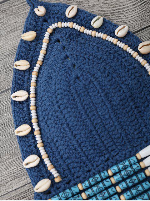 unique Beaded Seashell Embellished Crochet Bikini Set - ICE BLUE M Mobile