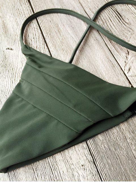 outfit Padded Cross Back Thong Bikini Set - ARMY GREEN L Mobile