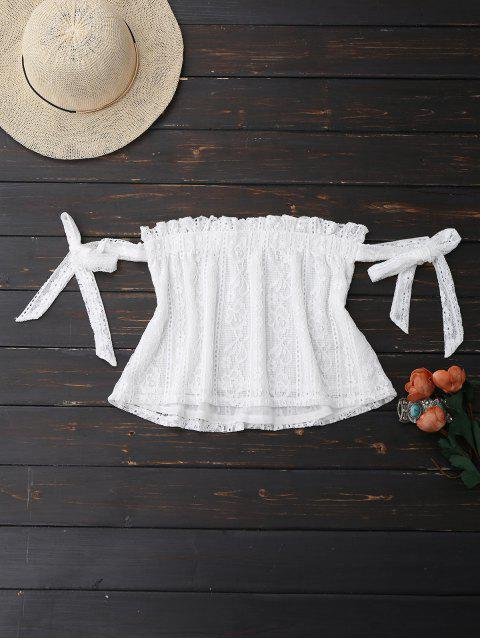 fashion Off Shoulder Lace Tie Sleeve Crop Top - WHITE S Mobile