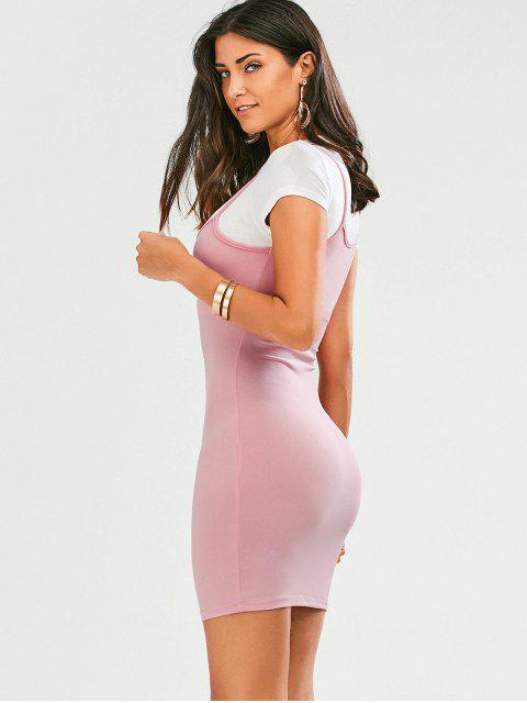 Faux Straps Color Block Bodycon Dress - ROSE PÂLE L Mobile