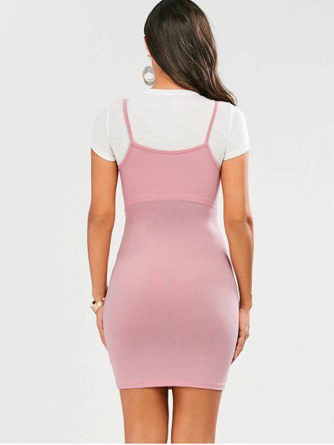 women Faux Straps Color Block Bodycon Dress - PINK S Mobile