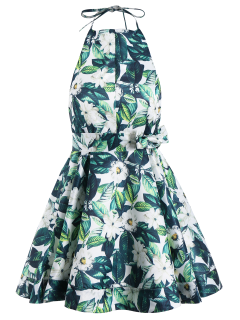 affordable Tropical Print Backless Fit and Flare Dress - GREEN 2XL Mobile