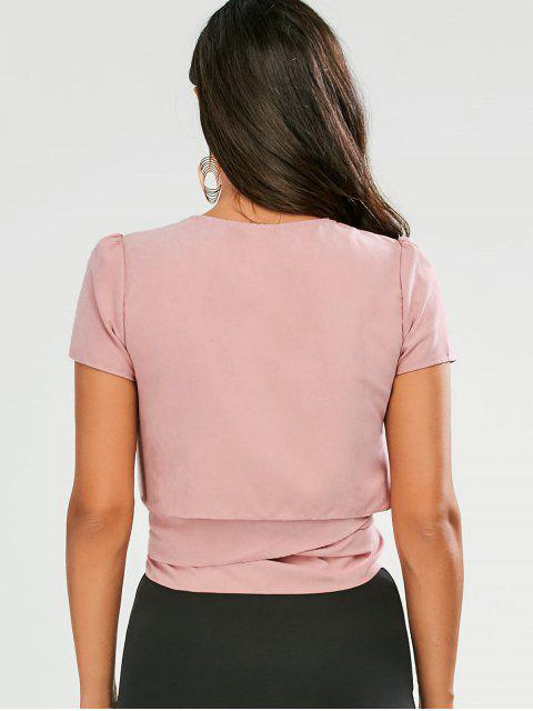 online Cropped Wrap Top - PINK L Mobile