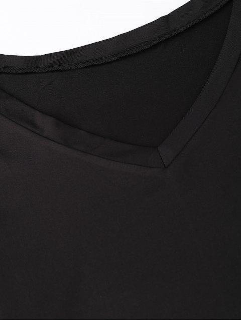 trendy V Neck Lace Hem T-Shirt Dress - BLACK M Mobile